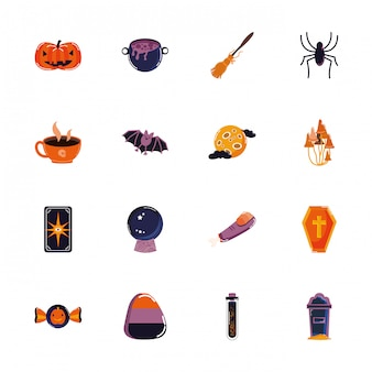 Bündel gesetzte ikonen halloweens