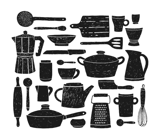 Bündel glaswaren, küchengeschirr und kochgeschirr. satz schwarze schattenbilder von küchenutensilien oder werkzeugen für hausmannskost lokalisiert auf weißem hintergrund.