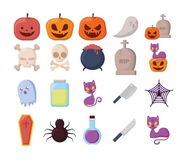 Bündel halloween mit eingestellten ikonen