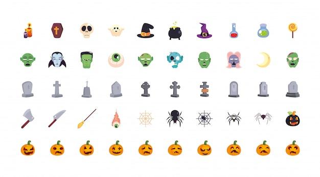 Bündel halloween mit satz ikonen