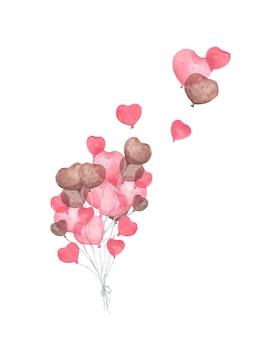 Bündel herzförmiger luftballons. fliegende rote herzballons der valentinsgrüße auf weißem hintergrund. liebe und romantik. aquarellillustration.