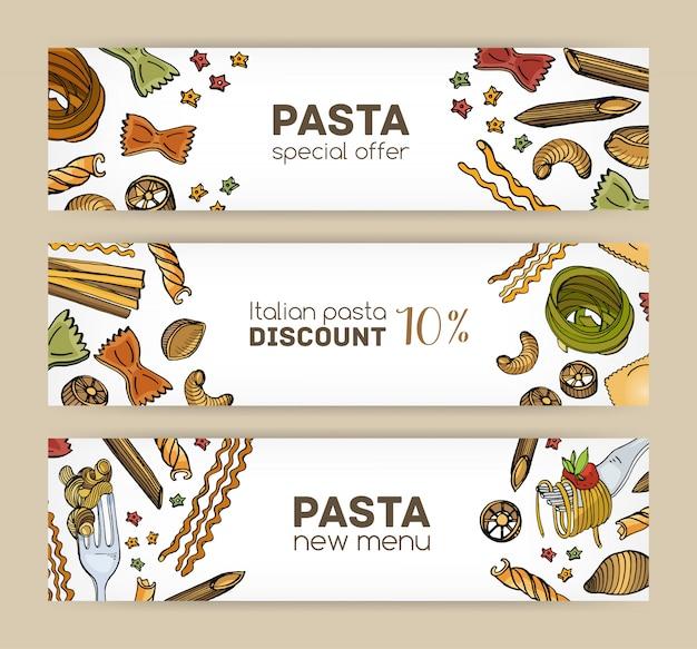 Bündel horizontaler web-banner-vorlagen mit verschiedenen arten von rohen und gekochten nudeln.