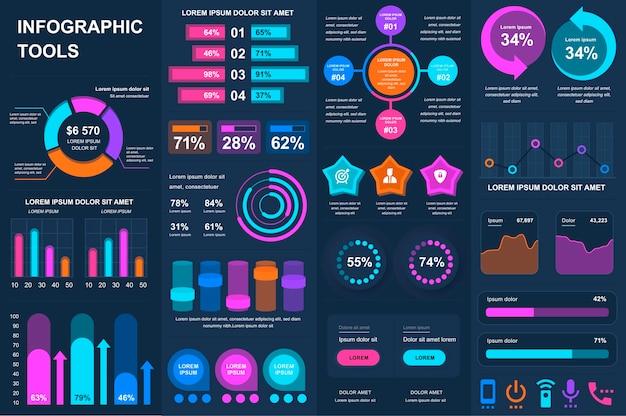 Bündel infografik ui ux kit elemente elemente vorlage