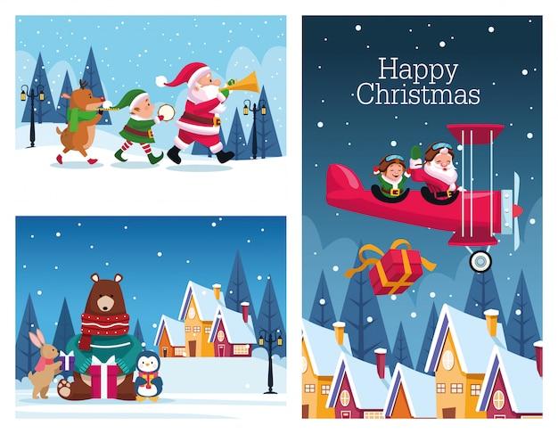 Bündel kartenvektor-illustrationsdesign der frohen weihnachten