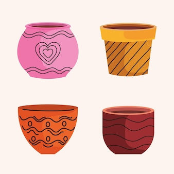 Bündel leerer keramiktöpfe der gartenikonen