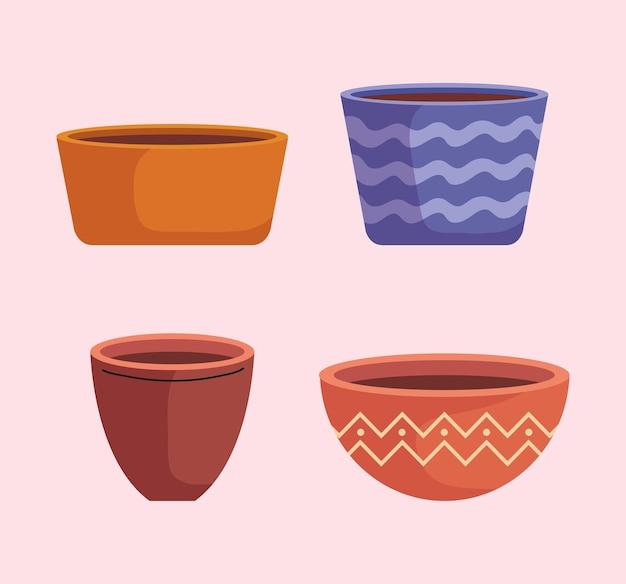 Bündel leerer keramiktöpfe des gartens