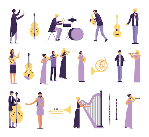 Bündel leute, die instrumente spielen