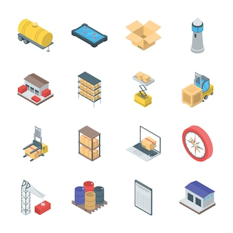 Bündel logistik-ikonen