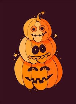 Bündel lustiger gruseliger kürbisse auf einem dunklen hintergrund. gruselige halloween-monster mit zähnen, mündern und kiefern. karikaturvektorillustration.