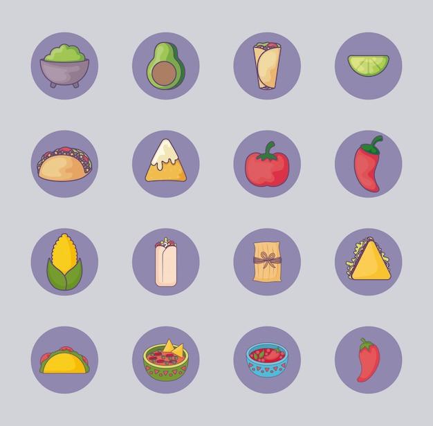 Bündel mexikanisches essen mit icons