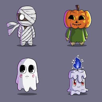 Bündel niedlichen halloween-geist