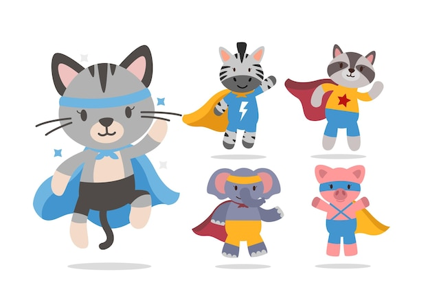 Bündel niedlichen tierkarikatur mit superheldencharakter-sammlung