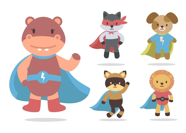 Bündel niedlichen tierkarikatur mit superheldenmaskottchen-zeichensammlung