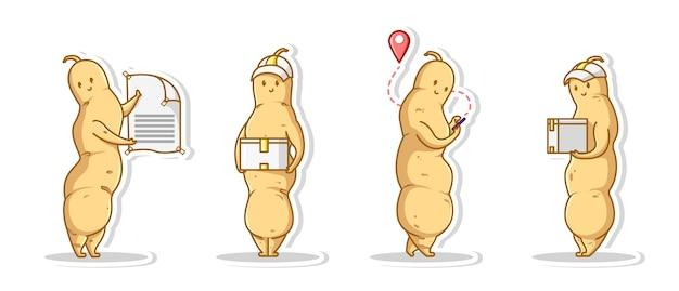 Bündel pose cute delivery service konzept von tamarind