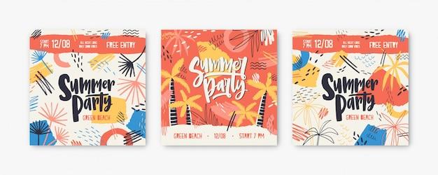 Bündel quadratischer banner- oder einladungsschablonen, die durch exotische palmen, flecken und kritzeleien für sommerfest oder open-air-festival verziert werden.