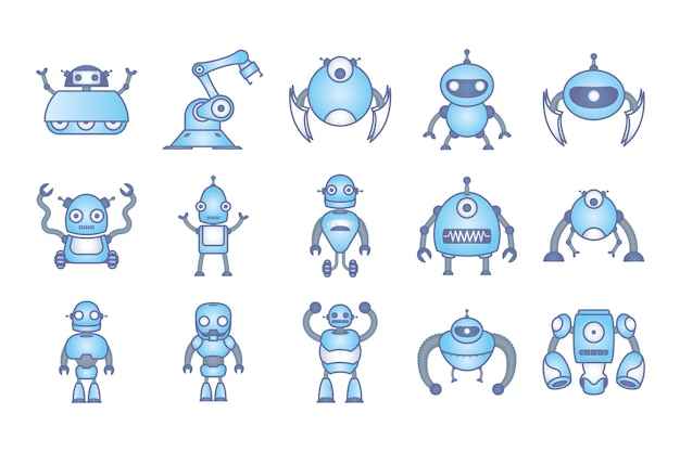 Bündel roboter cyborg stellen icons