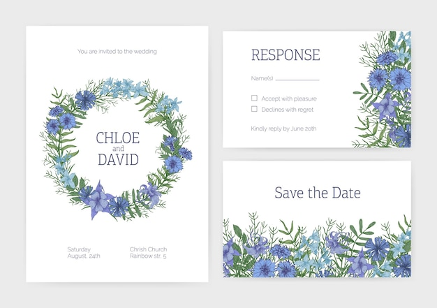 Bündel romantischer hochzeitseinladungen, save the date- und antwortkartenvorlagen, dekoriert mit blühenden wilden wiesenblumen, blühenden pflanzen und kräutern. florale realistische vektorillustration.