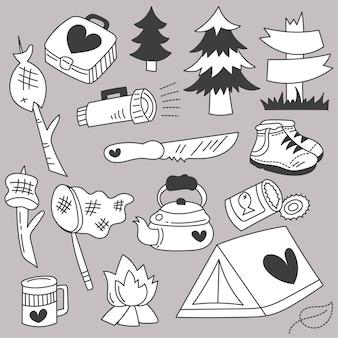 Bündel-satz des reisecampings an feiertagen mit handzeichnungsskizze der karikaturartikel