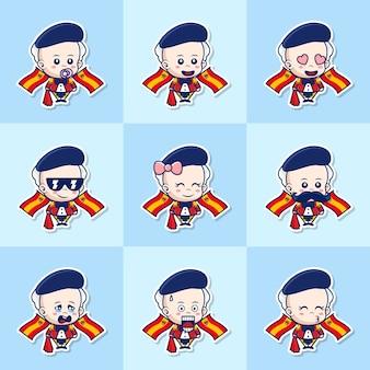 Bündel-set-zeichentrickfigur des niedlichen spanischen jungen mit unterschiedlichem ausdruck
