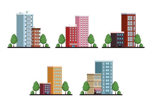 Bündel städtische szenen des gebäudestadtbilds