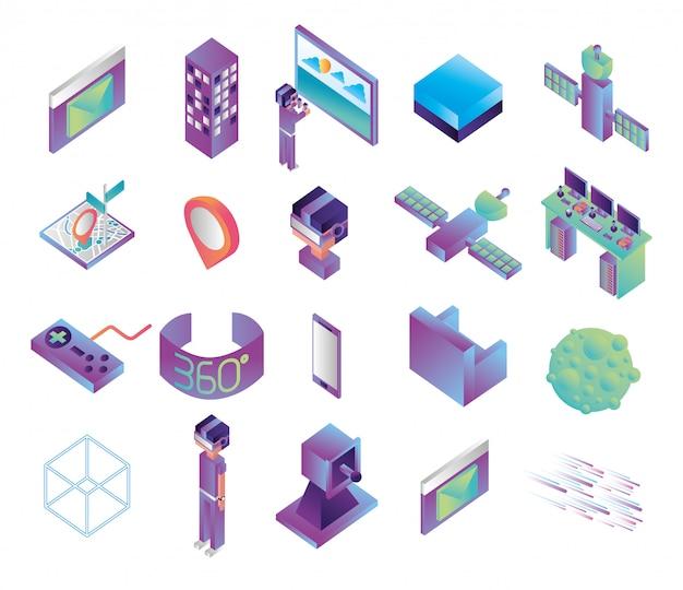 Bündel technologieikonen der virtuellen realität