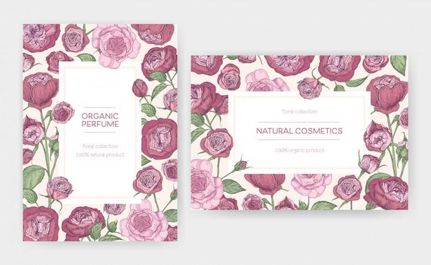 Bündel vertikaler und horizontaler kartenvorlagen mit rahmen aus austin-rosenblüten und platz für text.