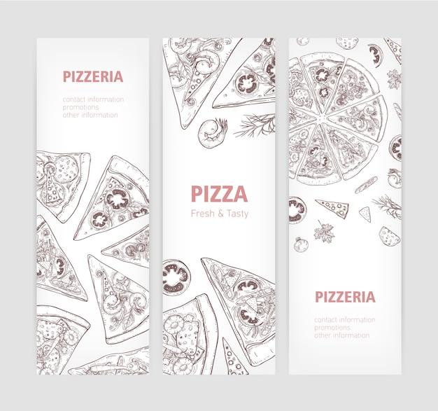 Bündel vertikaler web-banner-vorlagen mit köstlicher klassischer pizza-hand, die mit konturlinien gezeichnet wird