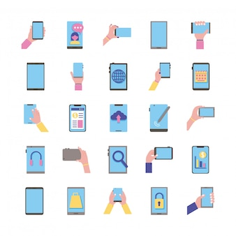 Bündel von 25 smartphones setzen symbole