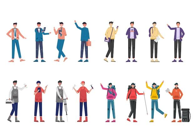 Bündel von 4 zeichensätzen von verschiedenen berufen, lebensstilen und ausdrücken jedes charakters in verschiedenen gesten, geschäftsleuten, touristen, mechanikern, mechanikern