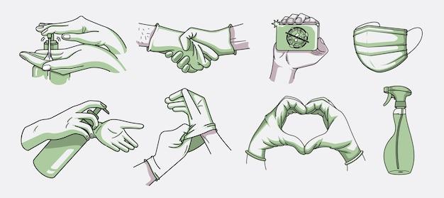 Bündel von abbildungen für hygiene und infektionsprävention im doodle-stil. hand, desinfektionsmittel und medizinische maske waschen