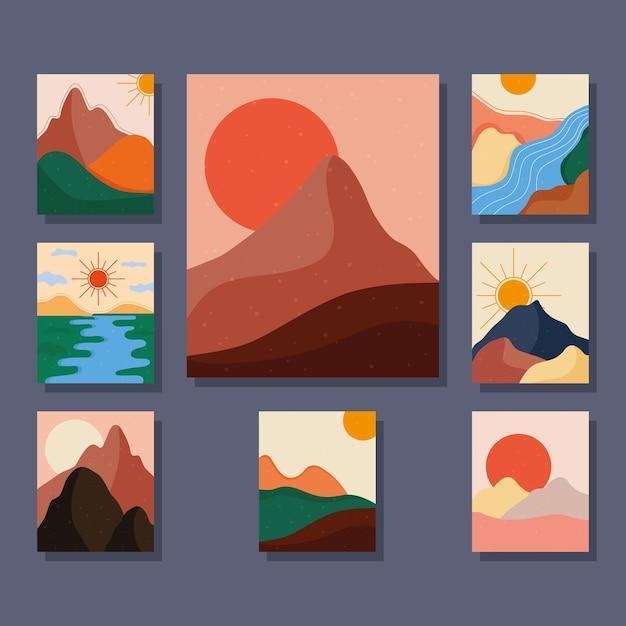 Bündel von acht abstrakten landschaften bunte szenen
