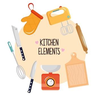 Bündel von acht küchenutensilien setzen ikonen und beschriftungsillustrationsentwurf
