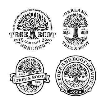 Bündel von baumwurzel-logo-abzeichen mit kreisform im vintage-design