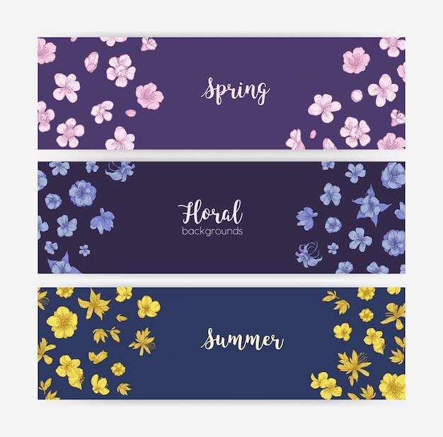 Bündel von blumenfahnenschablonen mit blühenden wilden blumen und blühenden pflanzen des frühlings und des sommers.