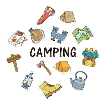 Bündel von campingikonen und schriftzug