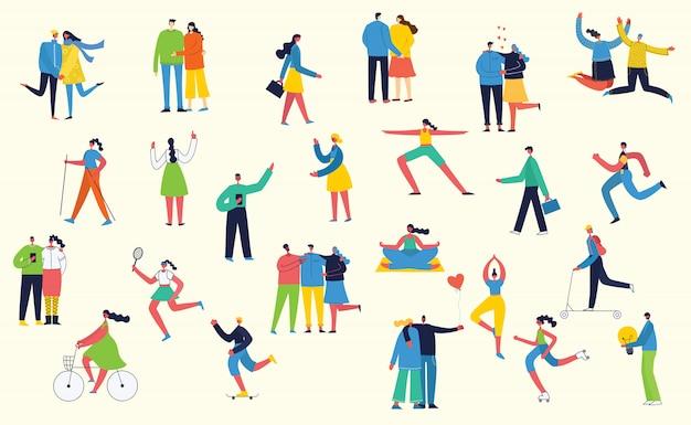 Bündel von cartoon-männern und -frauen, die outdoor-aktivitäten auf city streee im flachen stil ausführen