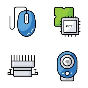 Bündel von computerhardware-ikonen
