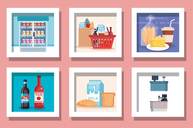 Bündel von designs supermarktprodukte