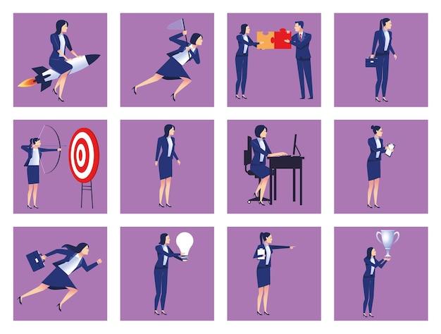 Bündel von dreizehn eleganten geschäftsleuten arbeiten avatare zeichenillustration