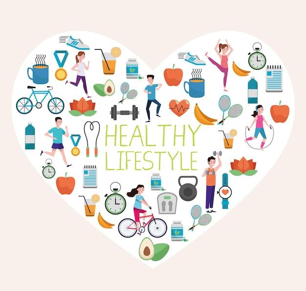 Bündel von elementen des gesunden lebensstils im herzen gesetzt