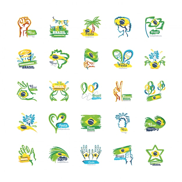 Bündel von emblemen des unabhängigkeitstags von brasilien