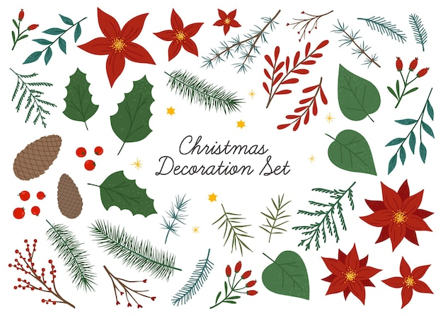 Bündel von floralen designelementen für weihnachten und guten rutsch ins neue jahr. vektor handgezeichnete pflanzen, tannenzapfen, äste, mistel und beeren. weihnachtsdekorationsset. traditionelles winterdekorbündel.