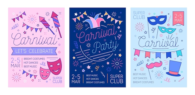 Bündel von flyer-vorlagen für maskenball, karneval oder kostümparty mit feuerwerk und masken mit linien gezeichnet