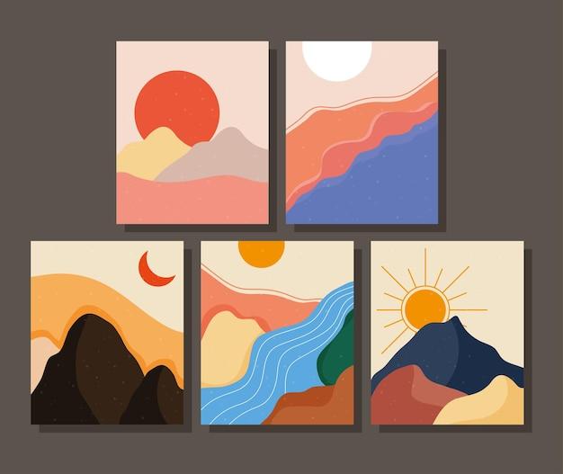 Bündel von fünf abstrakten landschaften bunte szenen