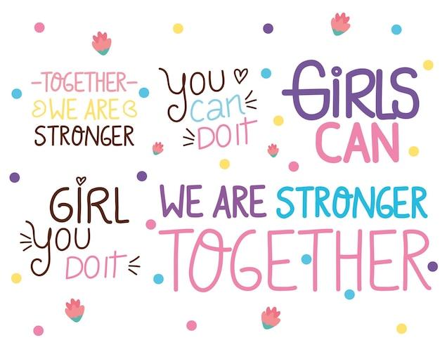 Bündel von fünf girl power schriftzügen illustration
