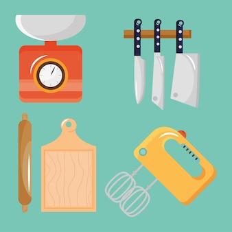Bündel von fünf küchenutensilien stellte ikonen-illustrationsdesign ein