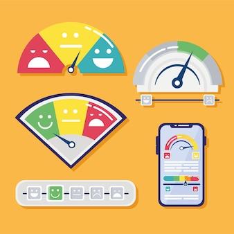 Bündel von fünf kundenzufriedenheitssatzsymbolen und smartphone-illustration