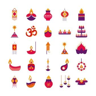 Bündel von fünfundzwanzig diwali set flache stilikonen vektor-illustration design