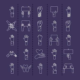 Bündel von fünfundzwanzig händen protestieren gesetzt sammlungsikonen