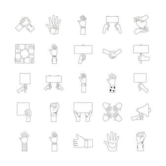 Bündel von fünfundzwanzig händen protestieren satzikonen